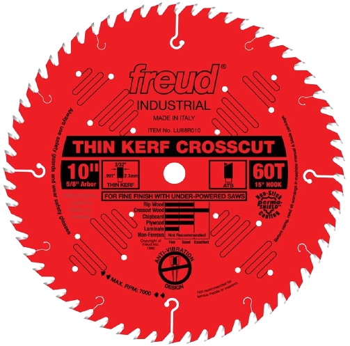 Freud 10 x 60T Thin Kerf Fine Finish Crosscut Blade