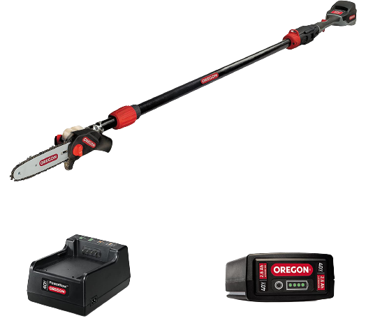 Oregon Cordless PS250 8 Inch 40V Telescoping Pole Saw with 2.6Ah Battery and Charger