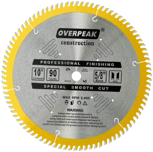 Overpeak 10 Inch Table Saw Blade ATB Ultra Fine Finishing 90 Teeth Wood Cutting Circular Saw Blades